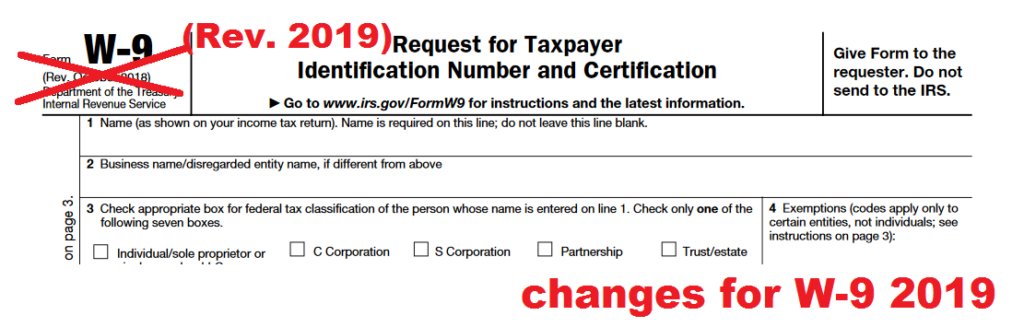 changes for W-9 form 2019